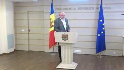 Briefing susținut de deputații fracțiunii Blocului Comuniștilor și Socialiștilor în timpul ședinței Parlamentului Republicii Moldova din 9 septembrie 2021