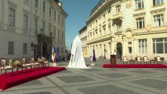 Ceremonia de dezvelire a statuii lui Samuel von Brukenthal din Sibiu
