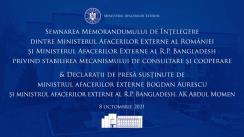 Declarații comune de presă susținute de ministrul afacerilor externe Bogdan Aurescu și ministrul afacerilor externe al Republicii Populare Bangladesh, A. K. Abdul Momen
