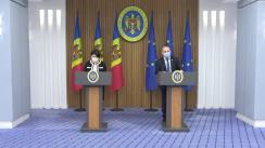 Conferință de presă susținută de prim-ministrul Republicii Moldova, Natalia Gavrilița, și vicepremierul pentru digitalizare, Iurie Țurcanu
