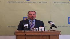 Conferință de presă susținută de prefectul Capitalei, Mihai Cristian Atănăsoaei